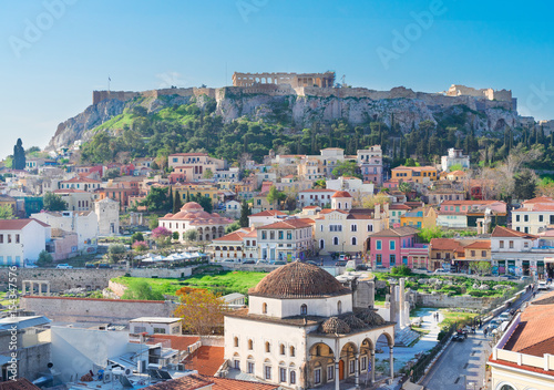 Foto auf Leinwand Athen Skyline of Athenth with Moanstiraki and Acropolis hill, Athens Greece