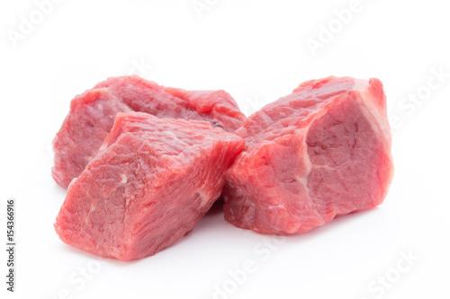 Keuken foto achterwand Vlees fresh meat on slice on the white background.