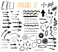 Arrows, Dividers And Borders, Elements Hand Drawn Set Vector Illustration.