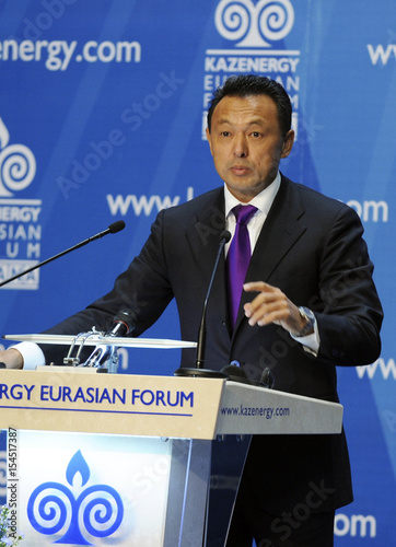 Sauat Mynbayev, Kazakhstan's oil and gas minister, speaks at