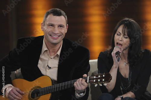 WBC boxing champion Vitali Klitschko of Ukraine and his wife