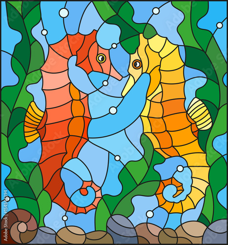 ilustracja-w-stylu-witrazu-z-para-seahors-ryb