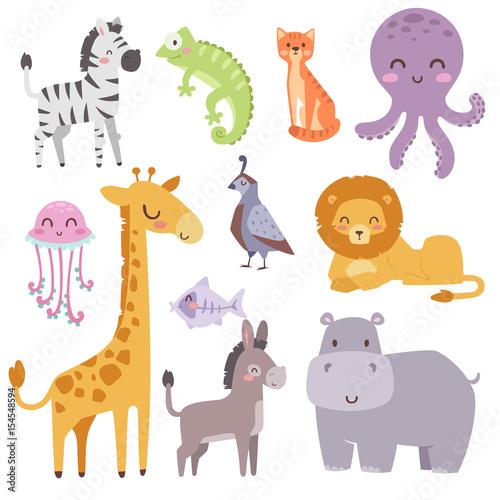 Cute zoo cartoon animals isolated funny wildlife learn cute language and tropical nature safari mammal jungle tall characters vector illustration. #154548594