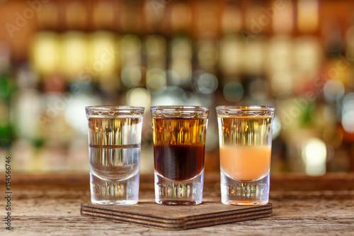 Foto op Plexiglas Bar Three shots cocktail on the bar