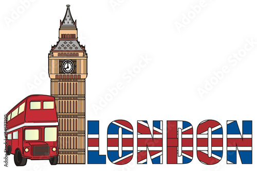 London England Uk Britain Travel Symbol Cartoon Illustration Trip City Europe Big Ben Tower Red Bus Word Flag Buy This Stock Illustration And Explore Similar Illustrations At Adobe Stock Adobe Stock