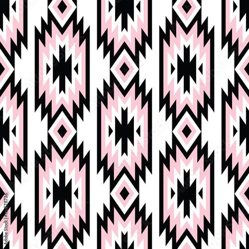 Foto auf AluDibond Boho-Stil Vector trendy seamless decorative ethnic pattern. Pink and black colors. Boho geometric style.