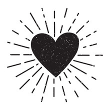Vector Grunge Illustration With Heart And Sunburst