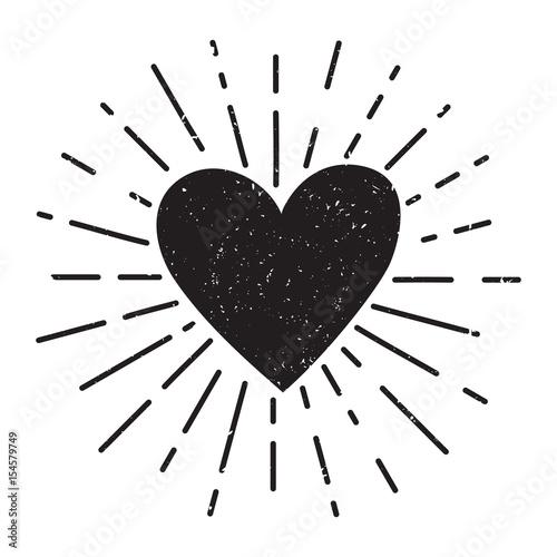 Fotografía  Vector grunge illustration with heart and sunburst