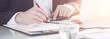 canvas print picture - Banner Geschäftsmann kalkuliert mit Taschenrechner mit Flares