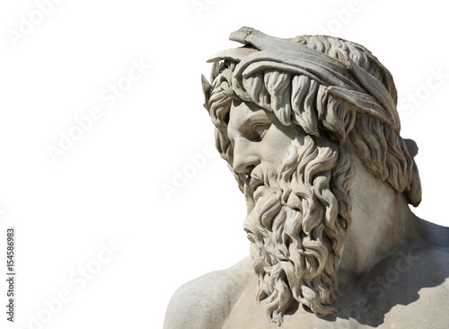 River Ganges marble statue as Greek or Roman God (isolated on white background) Wallpaper Mural