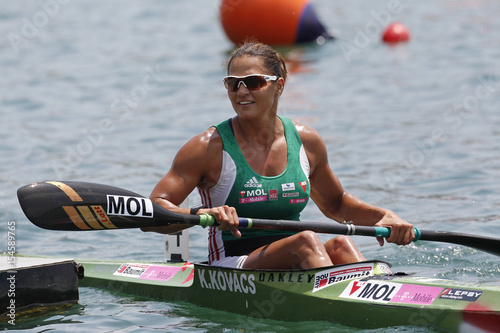Kovacs of Hungary reacts after she won the women's kayak