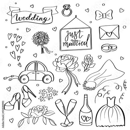 Wedding Icons Hand Sketched Vector Wedding Symbols Bride Groom