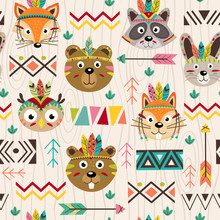 Seamless Pattern With Tribal Animals Faces - Vector Illustration, Eps
