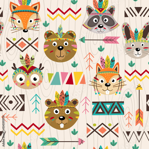 Cotton fabric seamless pattern with tribal animals faces - vector illustration, eps