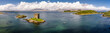Leinwandbild Motiv Luftaufnahme der schottischen Küste bei Portnacroish mit dem historischen Castle Stalker, Argyll, Bute, Scotland