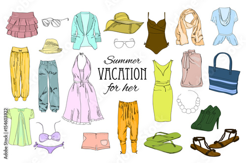 316bed090af1 Summer travel packing for vacation. Woman clothing set. Vector hand drawn  isolated objects.