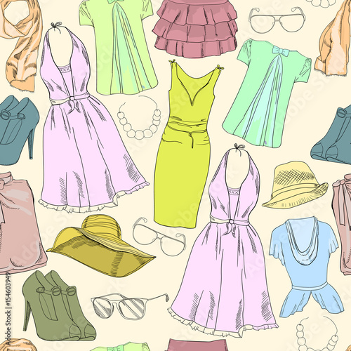 58896e7cc9e3 seamless pattern with hand drawn Vacation clothes for women and girl.  Pastel and natural summer color. Doodle background.
