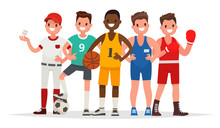 Summer Sports. Set Of Players In Baseball, Basketball, Soccer, Greco-Roman Wrestling And Boxing