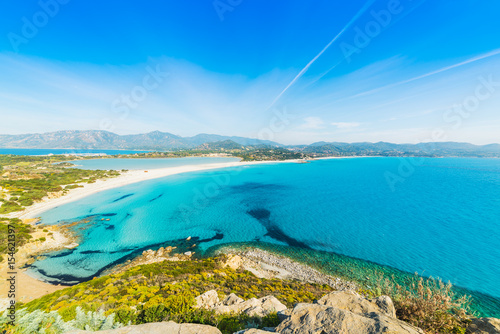 Poster Blauw Blue sea in Villasimius coast