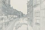 Ilustracja szkic miasta Utrecht. Streszczenie nowoczesnej architektury - 154636518
