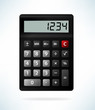 Electronic calculator isolated on light background. Vector illustration in realistic style.