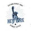 New York street style apparel fashion design with sunburst and textured distressed look.
