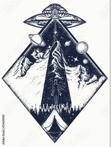UFO tattoo art and t-shirt design Poster
