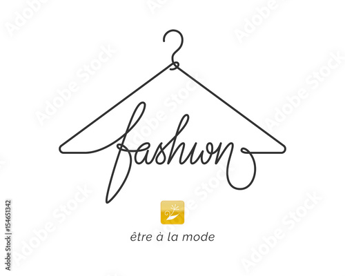 Creative fashion logo design. Vector sign with lettering and hanger symbol. Logotype calligraphy - fototapety na wymiar