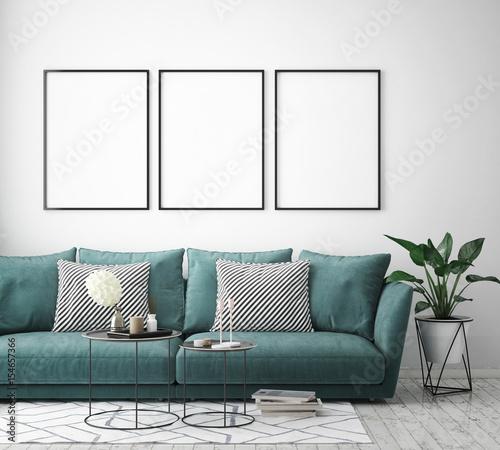 mock up poster frame in hipster interior background, scandinavian style, 3D render, 3D illustration Fototapete