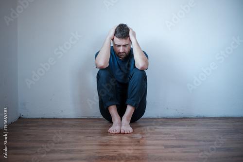 Desperate man in trouble feeling depressed Canvas Print