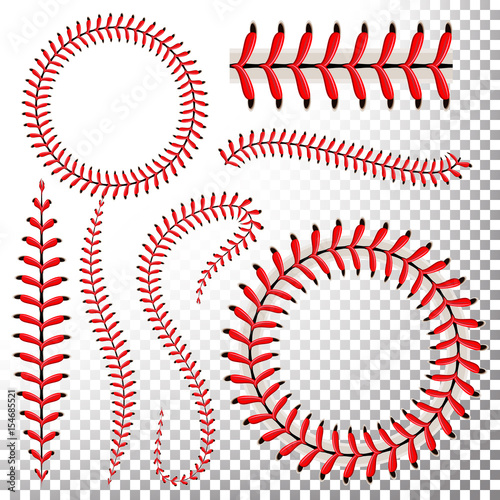 Photo Baseball Stitches Vector Set