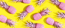 Pink Painted Pineapples On A V...