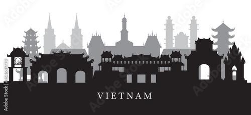 Fotografie, Obraz  Vietnam Landmarks Skyline in Black and White Silhouette
