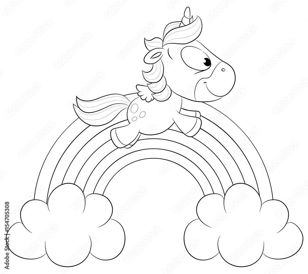 niedliches einhorn auf regenbogen vektor illustration
