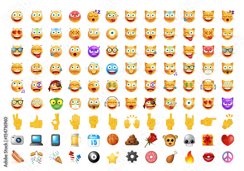 Set of 100 Cute Icons on White Background Canvas Print