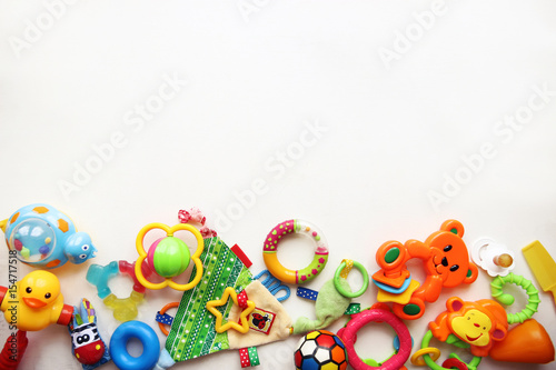 Fotografie, Obraz  Children's toys and accessorieson a White background