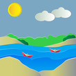 Vector illustration of boats on the water with colorful nature