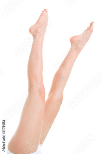 Fototapety, obrazy: shaved female legs and feet. Isolated on white background