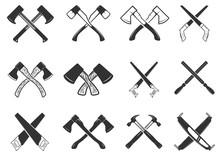 Set Of The Crossed Carpenter Tools. Design Elements For Logo, Label, Emblem, Sign, Badge. Vector Illustration