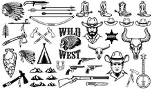Big Set Of Wild West Icons.Cowboys, Indians, Vintage Weapon. Design Elements For Logo, Label, Emblem, Sign, Badge. Vector Illustration