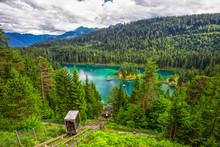 Crystal Clear Caumasee Lake Near Flims, Grisons, Switzerland.