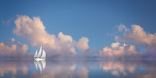 Segelboot Im Meer Vor Abendhim...