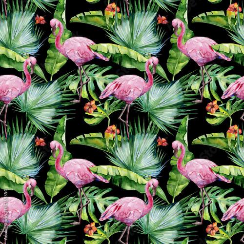 bezszwowa-akwareli-ilustracja-tropikalni-liscie-gesta-dzungla-i-rozowi-flamingow-ptaki-wzor-z-tropikalnym-motywem-letnim-moze-s