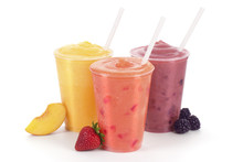 Three Flavors Of Fruit Smoothies On White Background