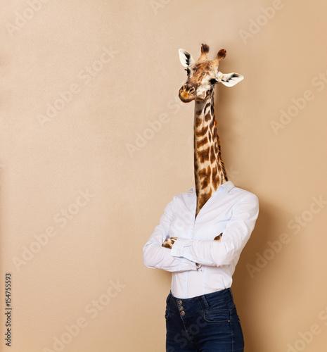 Poster de jardin Girafe Giraffe headed woman dressed up in office style