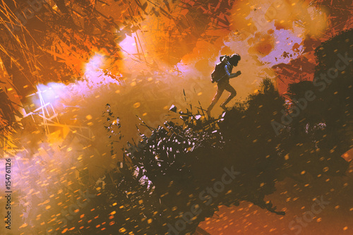 Foto op Aluminium Grandfailure digital art of the hiker walking in the mountain with explosion effect, illustration painting