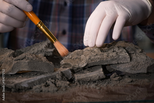 Archeologist working late night in office Canvas Print