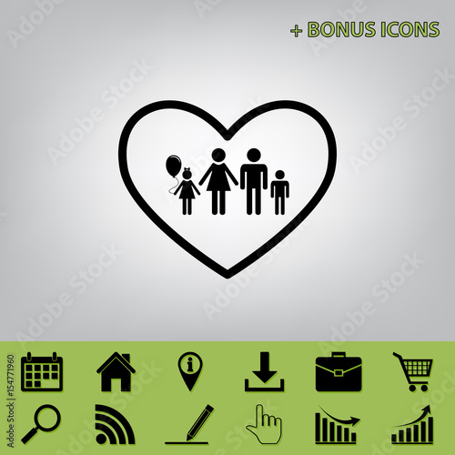 Papiers peints Affiche vintage Family sign illustration in heart shape. Vector. Black icon at gray background with bonus icons at celery ones