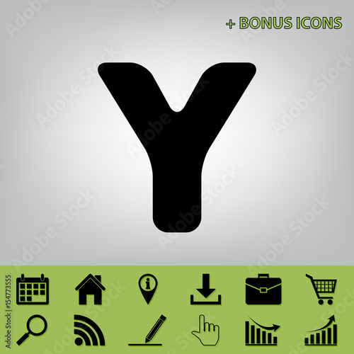 letter y sign design template element vector black icon at gray background with bonus