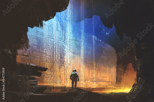 Foto op Aluminium Grandfailure sci-fi concept of the astronaut looking at pattern on the rock wall in the cave with digital art style, illustration painting